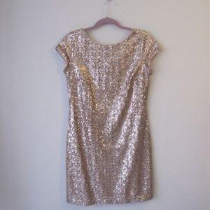 White house black market gold sequin dress